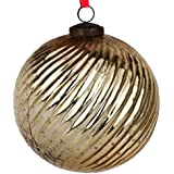EarthenMetal Handcrafted Golden Coloured Christmas Decoratives / Glass Hanging Ball- 6 Inch - B01NGWLPO5