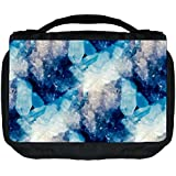 Blue Crystals Print Design Tm Small Travel Sized Hanging Cosmetic/Toiletry Case With 3 Compartments And Detachable...