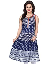 Meher Impex Blue Color Short Sleeves (Sleeves Are Attached Inside) Anarkali Style Long Cotton Kurti