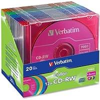 Verbatim - CD-RW Discs 12X 700B 80min 20 PK Slim Case Asst Sold As 1 Package VER 96685