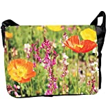 Front Panel Canvas Flowers Printed Messenger Style Bag For Laptops, Notebook Computer, Fit To Most . Design No.LTB... - B00SPICFAM