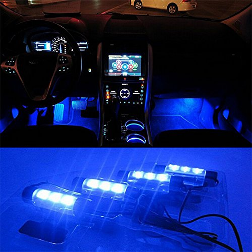 iTimo 12V 4 x 3 LED Car Auto Interior Accessories Atmosphere Lights Decoration Lamp (Column)
