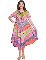 Exotic India Multicolor Batik Printed Dress With Dori On Neck - Multicolored