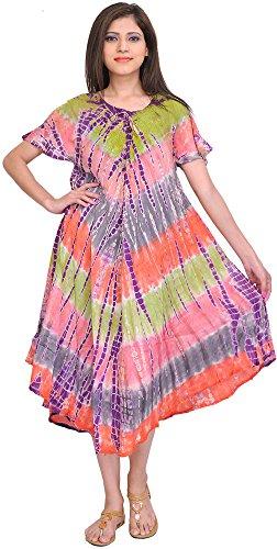 Exotic India Multicolor Batik Printed Dress With Dori On Neck - Multicolored
