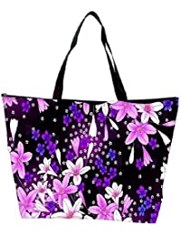 Snoogg Purple Flowers Waterproof Bag Made Of High Strength Nylon