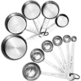 Accmor 11-Piece Stainless Steel Measuring Spoons/Cups Set - Premium Stackable Tablespoons Measuring Set For Dry...