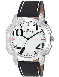 Swisstone SW-GR102-WHT-BLK White Dial Black Strap Analog Wrist Watch For Men/Boys