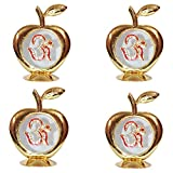 Set Of 4 - Golden Apple Om Idol For Car Dashboard / Home / Office Perfect Gift Item - 3.5 X 2.5 Inch