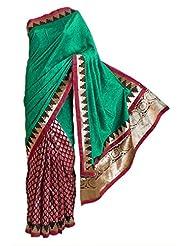 DollsofIndia Green Silk And Maroon Tussar Designer Saree With Golden Zari Design On Pleats, Border And Pallu -...