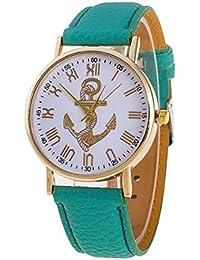 Fashion Retro Anchor Leather Geneva Brand Watch Women Watches Dress Ladies Lime Analog Quartz Watch- Mint Green