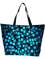 Snoogg Blue Blocks Design Designer Waterproof Bag Made Of High Strength Nylon