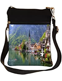 Snoogg House And Small Boat Cross Body Tote Bag / Shoulder Sling Carry Bag