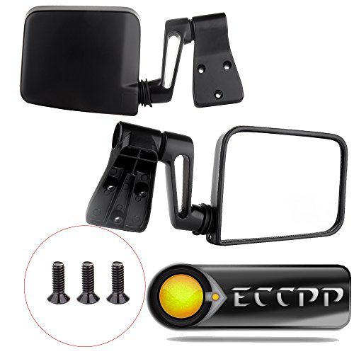 ECCPP® Black Manual Side View Door Mirrors Left/Right Pair Set for 1987-2002 Jeep Wrangler(exclude 1996)