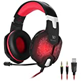 KOTION EACH G1000 3.5mm PC Stereo Gaming Headset With In-line Mic Integrated Microphone Over-ear Fit With Noise...