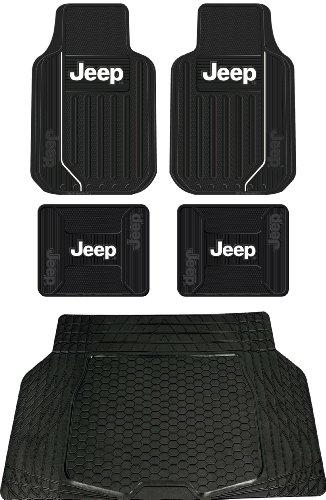 5pc Jeep Mopar Original Logo Elite Style Universal Front and Rear Rubber Floor Mats & Black Cargo MAT