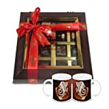 Chocholik Belgium Chocolate Gifts - Decadent Flavors In A Beautiful Wooden Box With Diwali Special Coffee Mugs...