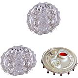GS MUSEUM Silver Plated Rani Kumkum Plate 2 Sets And Silver Plated 4 Inchi Pooja Thali Nag