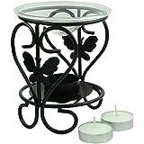 Brahmz Aroma Oil Burner Diffuser-Metal Diffuser Essential Oil Warmer Tea Light Holder - Candle -S Shape - Black