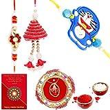 Gomati Ethnic Ethnic Meenakari Pooja Thali Raksha Bandhan Gift Rakhi For Brother With Gift Combo And Rakhi For Bhaiya Bhabhi Combo Free Shipping+Roli+Chawal+Greeting Card !!-1Bbkts971