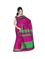 Sonal Trendz Pink & Green Color Art Silk Saree