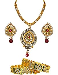 Surat Diamonds Ethnic Drop Shaped Red & White Stone, Shell Pearl & Gold Plated Pendant Necklace & Earring Set...