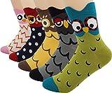 Bienvenu Women's Lady's 5 Pack Footed Cute Owl Design Cotton Crew Socks