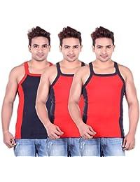 Lienz Fit Men's Sports Gym Vest Black And Red Color - Pack Of 3 - B06XJNG2F4