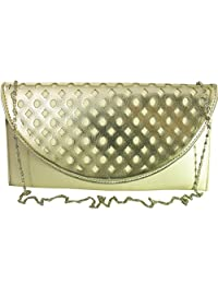 LION HEART ALYSSA LASER PARTY CLUTCH PEARL BEIGE WITH LIGHT YELLOW FLAP