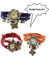GT Gala Time Vintage Fashion Butterfly Pendant Leather Bracelet Red, Orange & Blue Watch For Girls Women