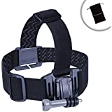 Elastic Stretch-Fit Head Strap Compact Camera Mount With J Hook And Tripod Screw Adapter By USA Gear - Works With...