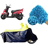 CreativeVia Combo Pack Of Universal Bike Body Cover With Microfiber Gloves For Yamaha Ray/ Ray Z - Blue& Yellow