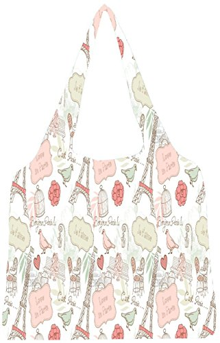 Snoogg Love In Paris Womens Jhola Shape Tote Bag