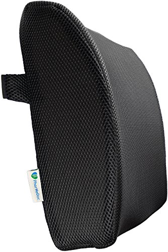 PharMeDoc Lower Back Pain Pillow – Lumbar Support Memory Foam for Office Chair & Car Seat Cushion with 3D Cool Mesh Cover with Zippers and Straps – Newly Designed 2016 Model – Sciatica & Pain Relief