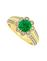Fancy Emerald And CZ Fashion Ring In 18K Yellow Gold Plated Vermeil Over Sterling Silver