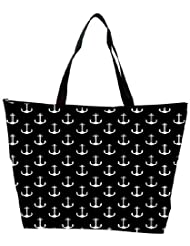Snoogg Black And White Anchors Waterproof Bag Made Of High Strength Nylon