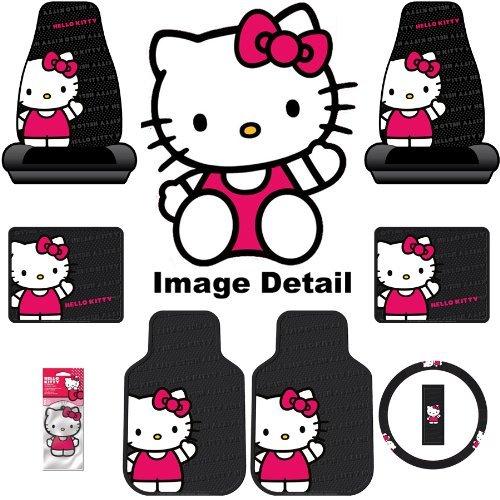 Hello Kitty Sanrio Waving Auto Car Truck SUV Accessories Interior Combo Kit Gift Set – 8PC