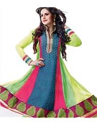 Exotic India Tri-Color Anarkali Choodidaar Kameez Suit With Wov - Multi-Coloured