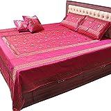 Ufc Mart Embroidered Magenta Silk Double Bed Cover Set, Color: Magenta, #Ufc00320