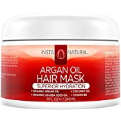 InstaNatural Argan Oil Hair Mask - Deep Conditioner Treatment For Dry, Damaged Hair - 8 OZ