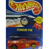 Ferrari F40 Hot Wheels 1994 Gold Medal Speed #69 Red With Golden Ultra Hot Wheels On Solid Blue Card