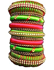 RUSHIKA CREATIONS GREEN AND PINK COLOR SILK THREAD PARTY WEAR MULTI WEAR BANGLES FOR WOMEN (2.10)