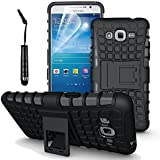SPECTRA Hard Armor Hybrid Rubber Bumper Kick Stand Back Case Cover For Samsung Galaxy Note II N7100 [BLACK]