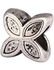 5 X 4-Clove Flower Charms Beads Antique Silver Tone Fits Pandora Biagi Troll Chamilla Other European Charm Bracelet...
