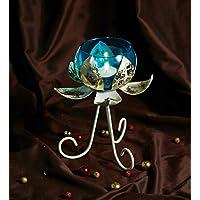 Orlando's Decor Candles Lotus Candle Holder With Blue Jar - B01KTRSOA6