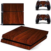 Elton Luxury Brown Wood Theme Decal Skin Sticker Cover For PS4 Console And Controllers