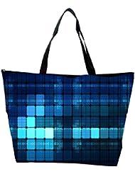 Snoogg Blue Lights Wide Designer Waterproof Bag Made Of High Strength Nylon