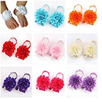 Lovinglove 9 Pairs A Pack Baby Girls Barefoot Sandals Shoes Foot Flower (Fold Flower)