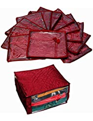 Kuber Industries Saree Cover 12 Pcs Set In Maroon Quilted Satin, Extra Large Quilted Satin Saree Cover