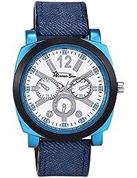 Roman Star RS023 Denim Blue Coloured With Blue Leather Strap Quartz Watch For Men