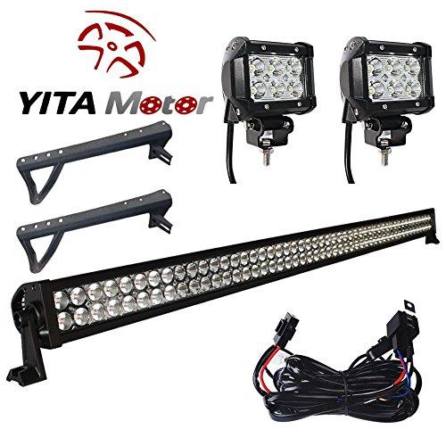 YITAMOTOR 300W 52″ inch + 2X 18W Spot LED Light Bar + Mounting Brackets+Wiring for JEEP JK Wrangler